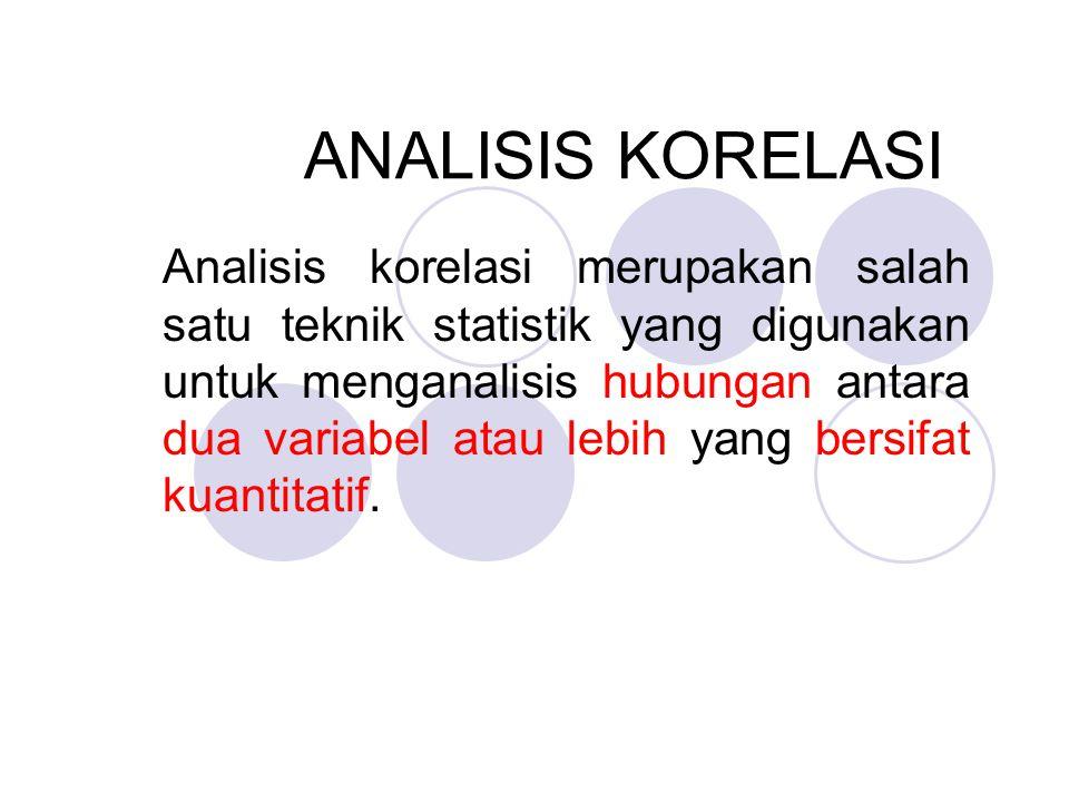 Dasar Pemikiran Analisis Korelasi  Bahwa adanya perubahan sebuah variabel disebabkan atau akan diikuti dengan perubahan variabel lain.