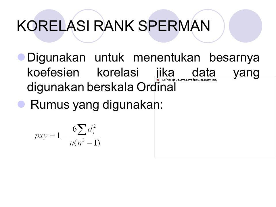 KORELASI RANK SPERMAN DDigunakan untuk menentukan besarnya koefesien korelasi jika data yang digunakan berskala Ordinal  Rumus yang digunakan: