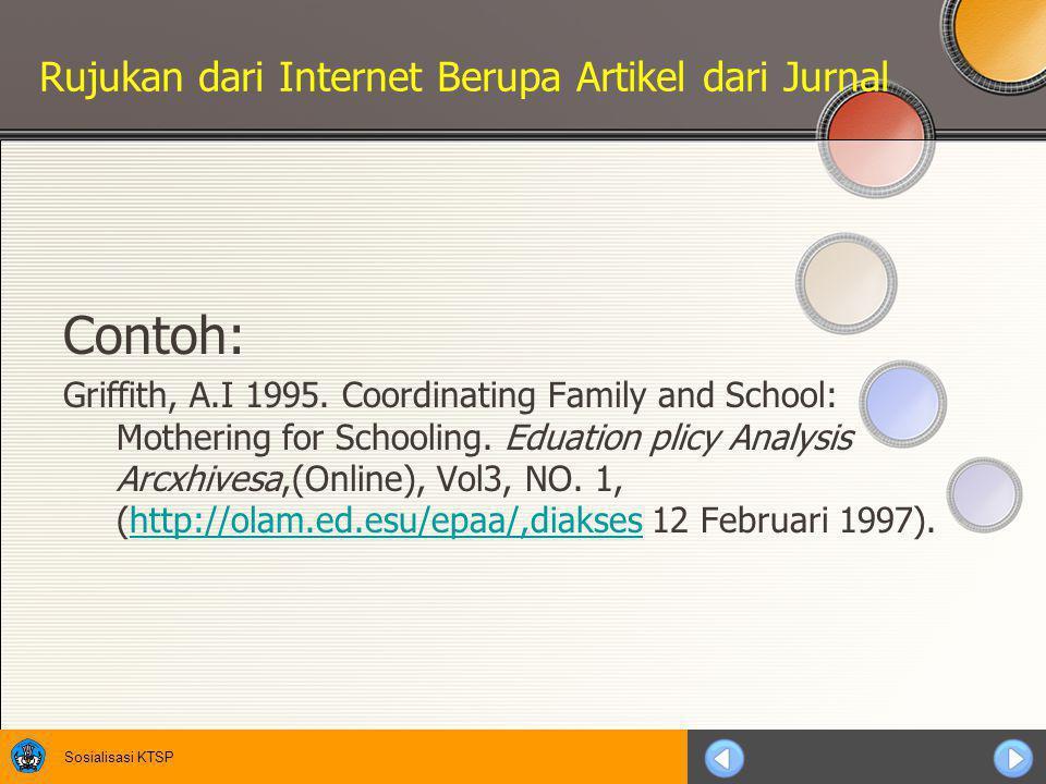 Sosialisasi KTSP Rujukan dari Internet Berupa jurnal Contoh: Hitchock, S., L. & Hall, W. 1996. A Survey Df STM Online Jour- nals, 1990-1995: The Calm
