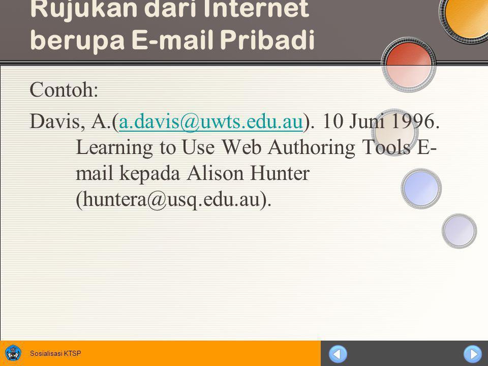 Sosialisasi KTSP Rujukan dari Internet Berupa Bahan Diskusi Contoh: Wilson,D.
