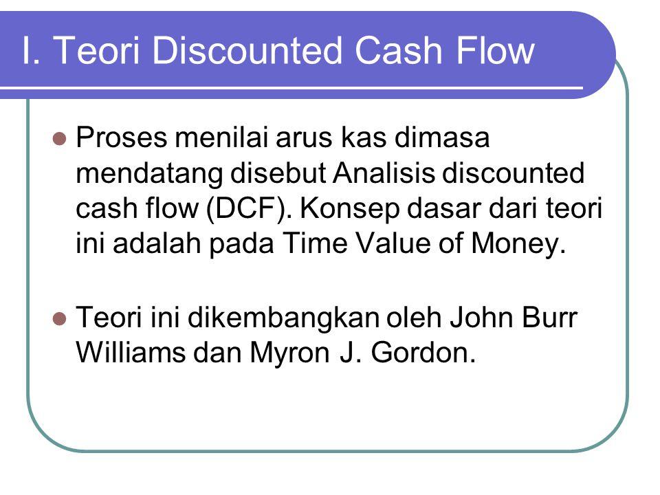 I. Teori Discounted Cash Flow  Proses menilai arus kas dimasa mendatang disebut Analisis discounted cash flow (DCF). Konsep dasar dari teori ini adal