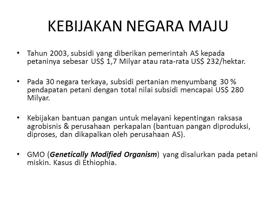 PERTANIAN INDONESIA SAAT DIDIKTE IMF & WORLD BANK • Selama 20 tahun terakhir, pemerintah RI telah mengadopsi kebijakan pangan ala neo-liberal yang sangat pro pasar bebas (free-market).