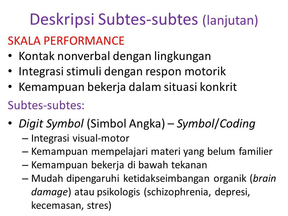 Deskripsi Subtes-subtes (lanjutan) SKALA PERFORMANCE • Kontak nonverbal dengan lingkungan • Integrasi stimuli dengan respon motorik • Kemampuan bekerj