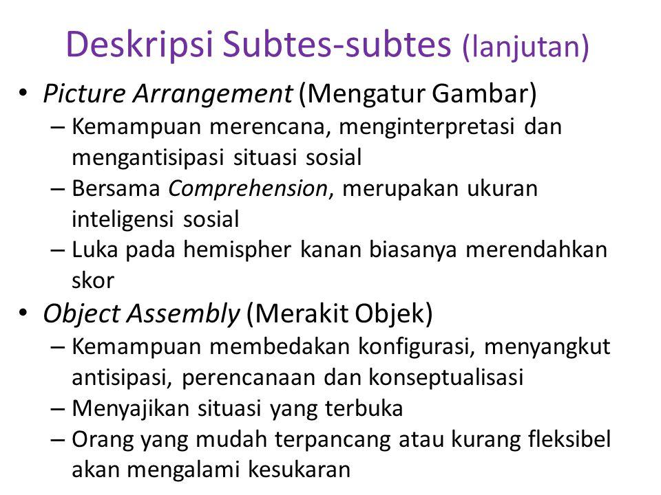 Deskripsi Subtes-subtes (lanjutan) • Picture Arrangement (Mengatur Gambar) – Kemampuan merencana, menginterpretasi dan mengantisipasi situasi sosial –