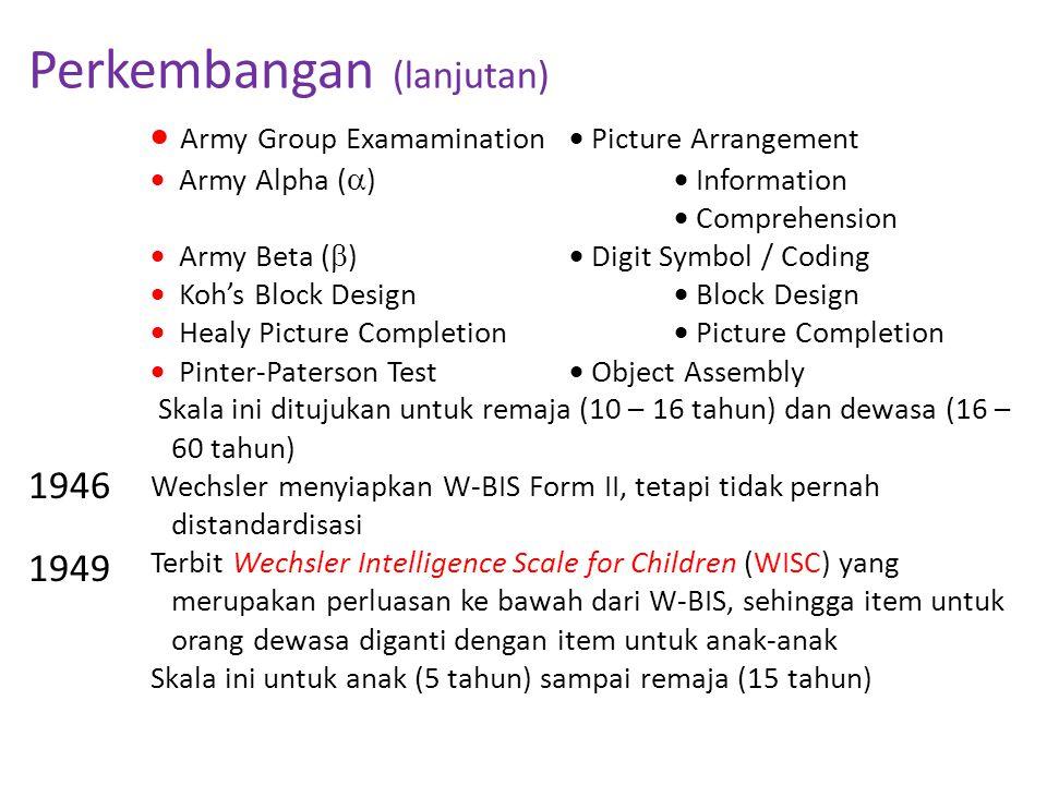 Perkembangan (lanjutan) 1946 1949  Army Group Examamination  Picture Arrangement  Army Alpha (  )  Information  Comprehension  Army Beta (  )