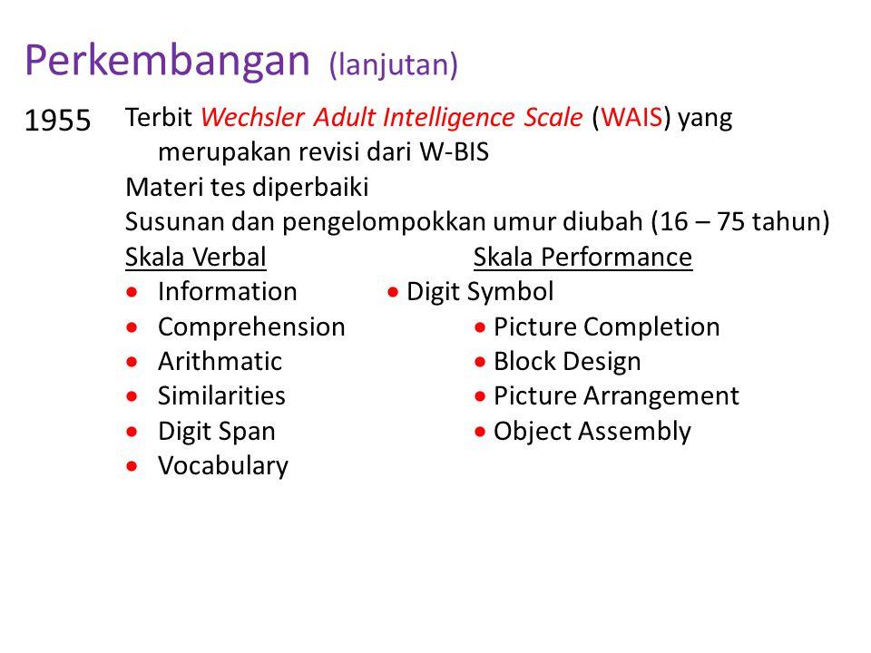 Perkembangan (lanjutan) 1955 Terbit Wechsler Adult Intelligence Scale (WAIS) yang merupakan revisi dari W-BIS Materi tes diperbaiki Susunan dan pengel