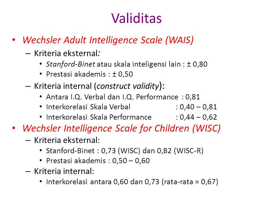 Validitas • Wechsler Adult Intelligence Scale (WAIS) – Kriteria eksternal : • Stanford-Binet atau skala inteligensi lain : ± 0,80 • Prestasi akademis