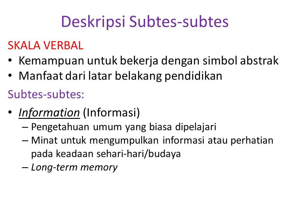 Deskripsi Subtes-subtes SKALA VERBAL • Kemampuan untuk bekerja dengan simbol abstrak • Manfaat dari latar belakang pendidikan Subtes-subtes: • Informa