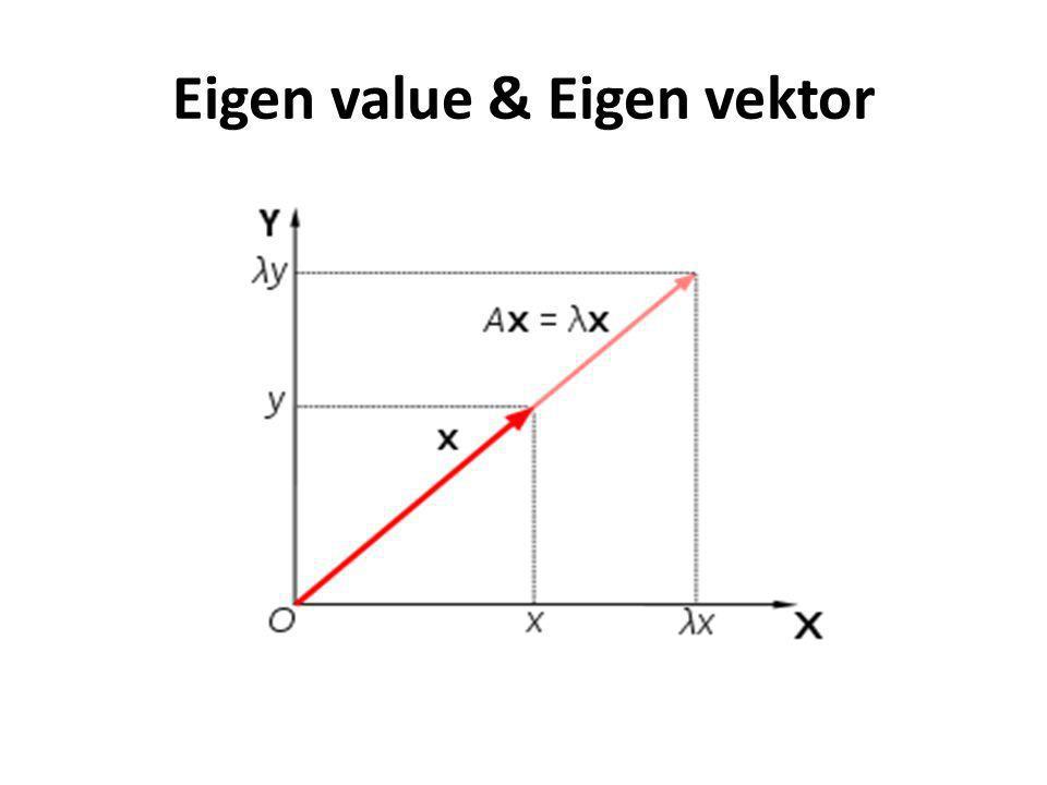 Cara menentukan P • Jika matrik A ukuran n x n mempunyai n vektor eigen bebas linier {x 1, x 2, …., x n } berhubungan dengan n nilai eigen {λ 1, λ 2, ….., λ n } kemudian didiagonalisasi matrik P, maka formulasi matrik P adalah: • Jika D adalah matrik diagonal ukuran n x n dan D = P -1 AP, maka : • Nilai λ 1, λ 2, ….., λ n tergantung pada nilai x 1, x 2, …., x n P=[x 1, x 2, ….., x n ]