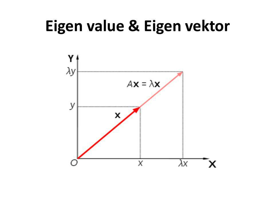 Ruang vektor : Untuk λ 1 = 2 diperoleh : -x 1 – 2x 2 = 0 x 1 + 2x 2 = 0 Jadi vektor eigen dari A yang bersesuaian dengan λ adalah vektor tak nol : Jadi untuk λ=2, basisnya adalah : x 1 = –2x 2