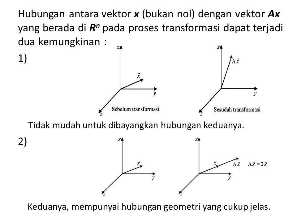 Definisi : Jika terdapat suatu matrik A berukuran n x n dan vektor tak nol x berukuran n x 1, x R n, maka dapat dituliskan : Ax : vektor berukuran n x 1 λ : skalar riil yang memenuhi persamaan, disebut nilai eigen (karekteristik) x : vektor eigen Ax = λx