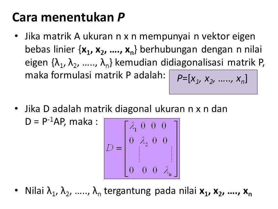 Cara menentukan P • Jika matrik A ukuran n x n mempunyai n vektor eigen bebas linier {x 1, x 2, …., x n } berhubungan dengan n nilai eigen {λ 1, λ 2,