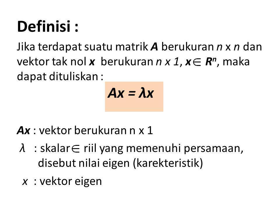 Cara menentukan nilai eigen dari A : Untuk mencari nilai eigen dari matrik A yang berukuran n x n yang memenuhi persamaan : Ax = λx dapat ditulis sebagai : Ax = λIx atau ekivalen : (λI – A)x = 0 Sistem persamaan tersebut memiliki jawab bukan nol (singular), jika dan hanya jika : Ini disebut sebagai persamaan karakteristik (polinomial dalam λ)