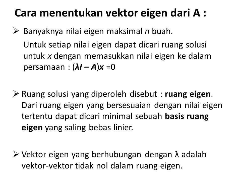 Cara menentukan vektor eigen dari A :  Banyaknya nilai eigen maksimal n buah. Untuk setiap nilai eigen dapat dicari ruang solusi untuk x dengan memas