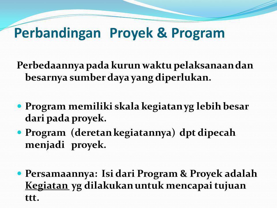 Perbandingan Proyek & Program Perbedaannya pada kurun waktu pelaksanaan dan besarnya sumber daya yang diperlukan.