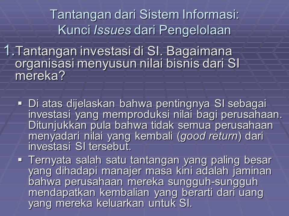 Tantangan dari Sistem Informasi: Kunci Issues dari Pengelolaan 1. Tantangan investasi di SI. Bagaimana organisasi menyusun nilai bisnis dari SI mereka