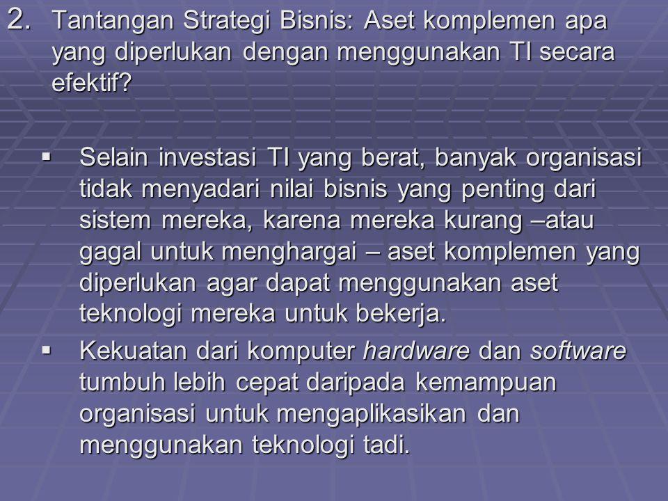 2. Tantangan Strategi Bisnis: Aset komplemen apa yang diperlukan dengan menggunakan TI secara efektif?  Selain investasi TI yang berat, banyak organi