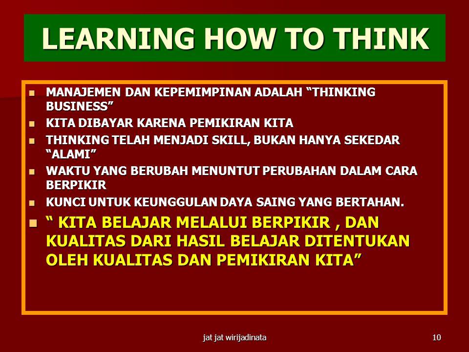 jat jat wirijadinata9 SUPERSKILLS DALAM PERUBAHAN YANG SEMAKIN PESAT  Yaitu:  LEARNING HOW TO LEARN – ACCELERATED LEARNING  3 TYPES OF LEARNING: LE