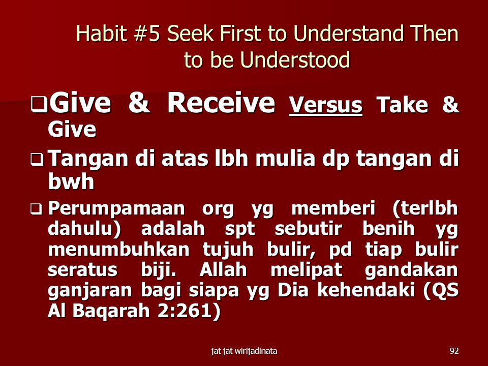 jat jat wirijadinata91 Habit #4 Think Win-Win  Jujur (Honesty) & Integritas (Integrity)  Ketegasan (Courage) & Tenggang-rasa (Consideration)  Sikap