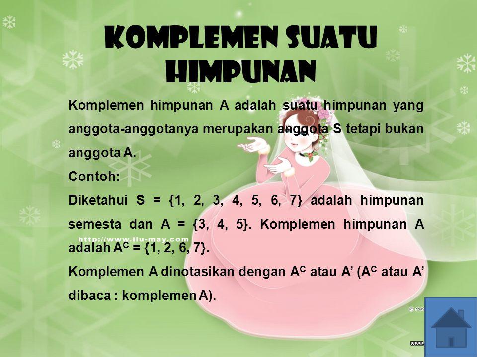 Komplemen Suatu Himpunan Komplemen himpunan A adalah suatu himpunan yang anggota-anggotanya merupakan anggota S tetapi bukan anggota A. Contoh: Diketa