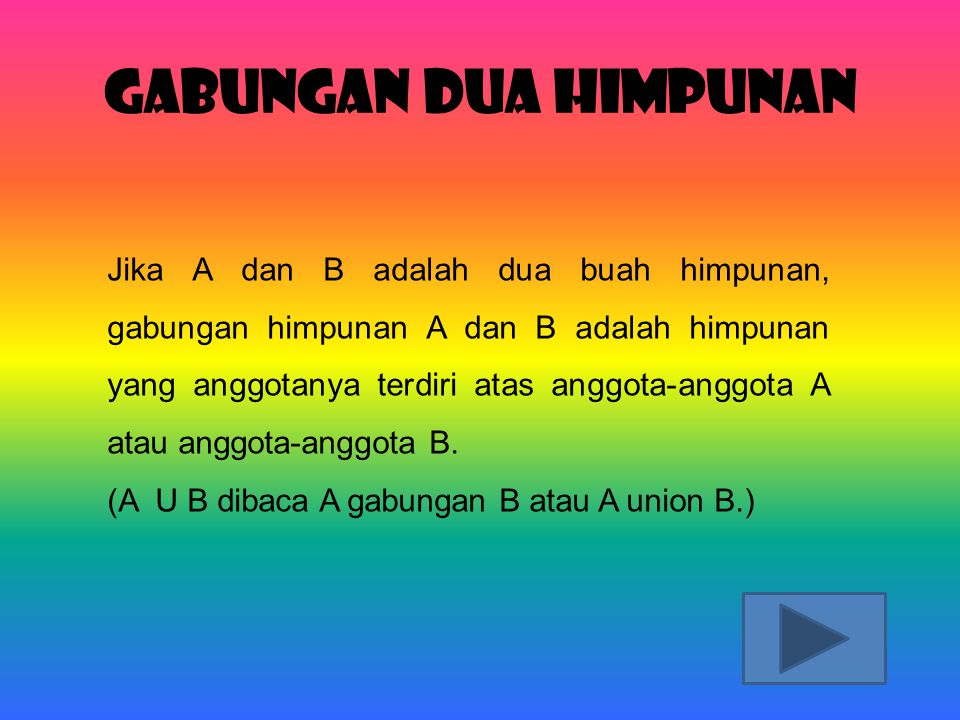 Gabungan Dua Himpunan Jika A dan B adalah dua buah himpunan, gabungan himpunan A dan B adalah himpunan yang anggotanya terdiri atas anggota-anggota A