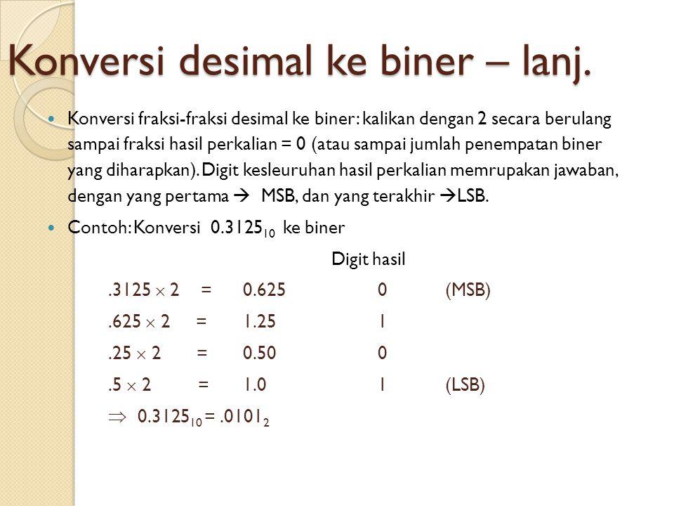 Konversi desimal ke biner – lanj.  Konversi fraksi-fraksi desimal ke biner: kalikan dengan 2 secara berulang sampai fraksi hasil perkalian = 0 (atau