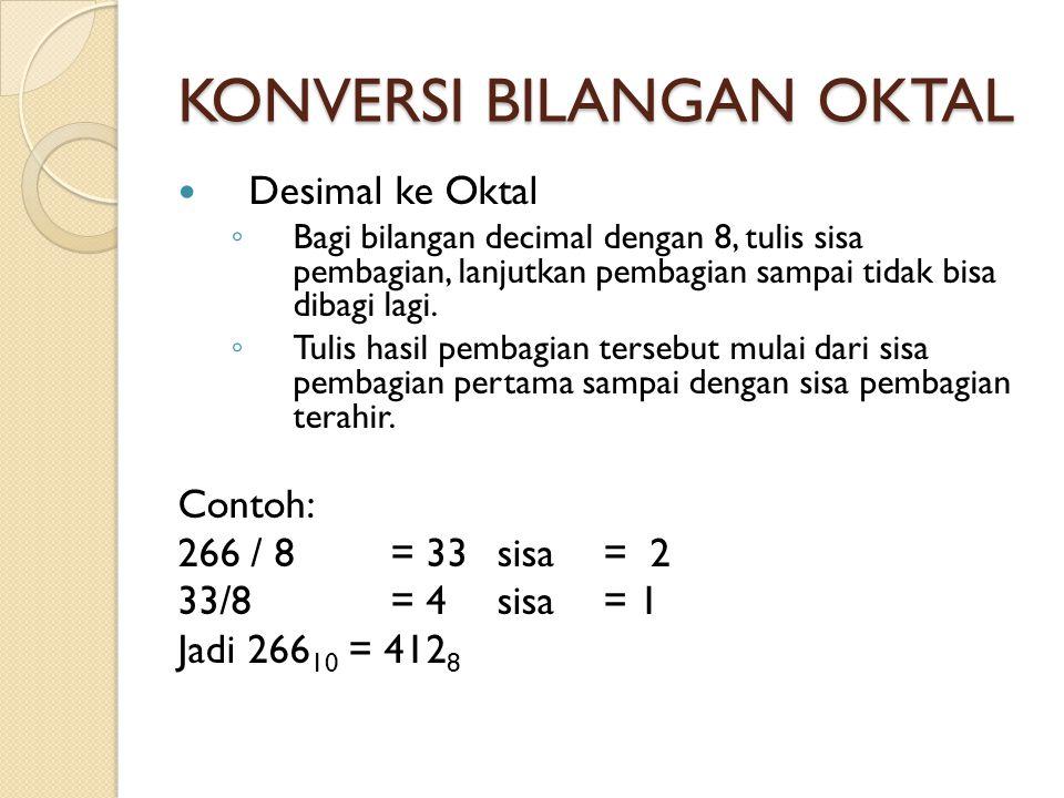 KONVERSI BILANGAN OKTAL  Desimal ke Oktal ◦ Bagi bilangan decimal dengan 8, tulis sisa pembagian, lanjutkan pembagian sampai tidak bisa dibagi lagi.