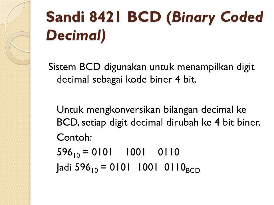 Sandi 8421 BCD (Binary Coded Decimal) Sistem BCD digunakan untuk menampilkan digit decimal sebagai kode biner 4 bit. Untuk mengkonversikan bilangan de