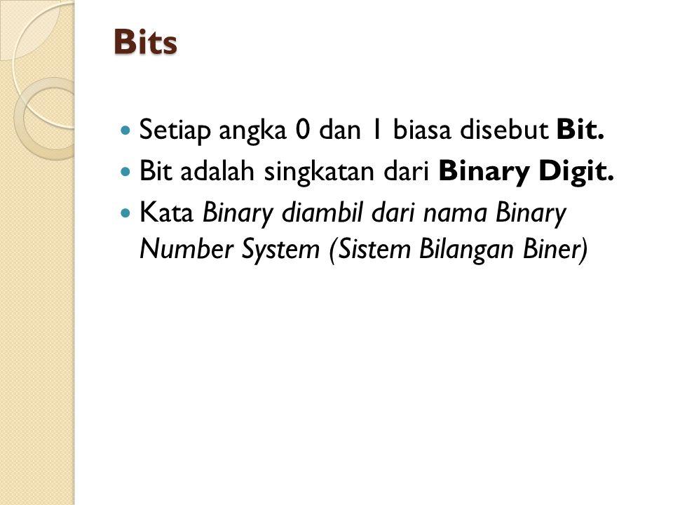 Bilangan Biner Untuk bilangan biner, kalikan bilangan paling kanan terus ke kiri dengan 2^0, 2^1, 2^2, dst.