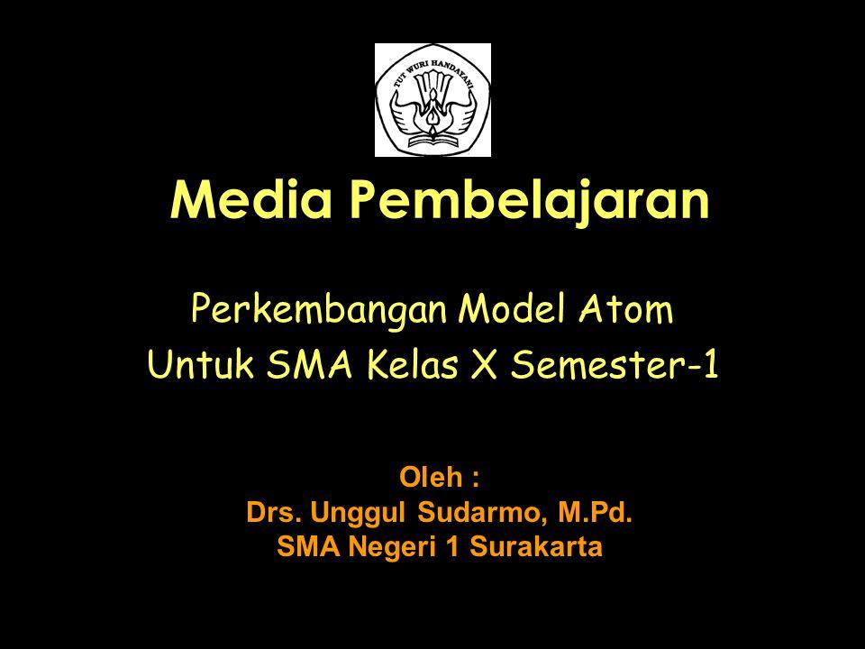 Media Pembelajaran Perkembangan Model Atom Untuk SMA Kelas X Semester-1 Oleh : Drs. Unggul Sudarmo, M.Pd. SMA Negeri 1 Surakarta