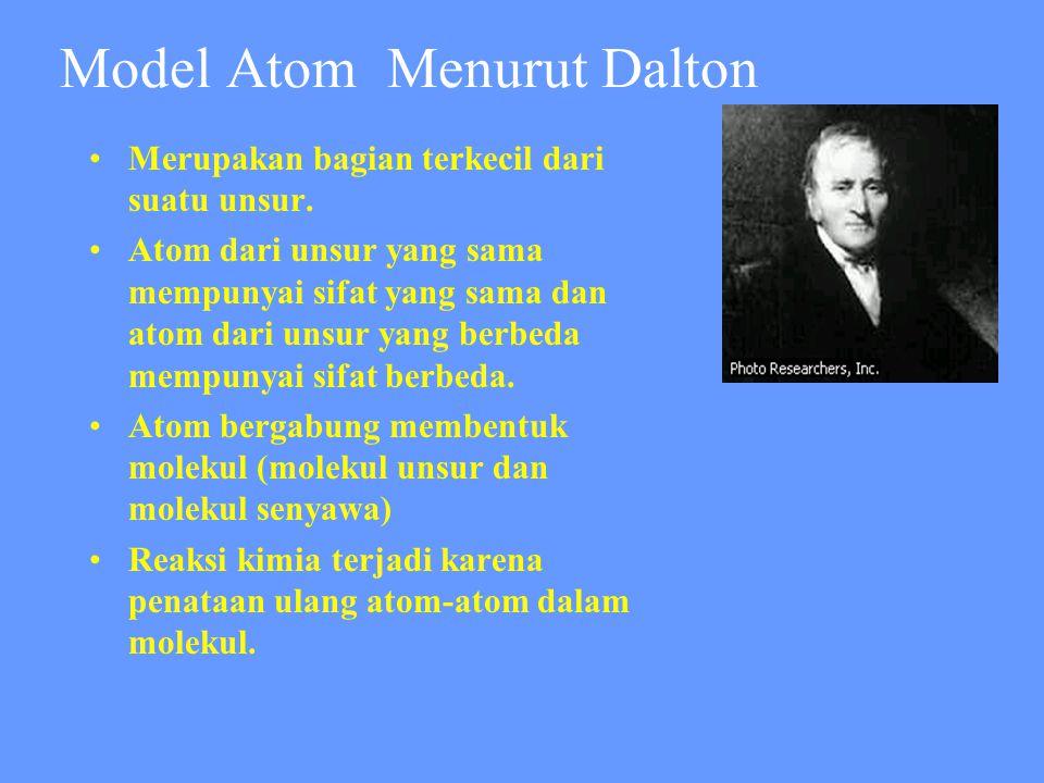Model Atom Menurut Dalton •Merupakan bagian terkecil dari suatu unsur. •Atom dari unsur yang sama mempunyai sifat yang sama dan atom dari unsur yang b
