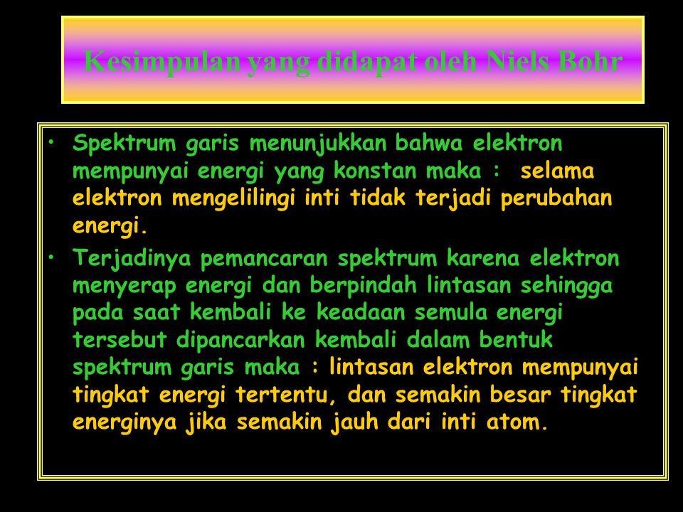 Kesimpulan yang didapat oleh Niels Bohr •Spektrum garis menunjukkan bahwa elektron mempunyai energi yang konstan maka : selama elektron mengelilingi i