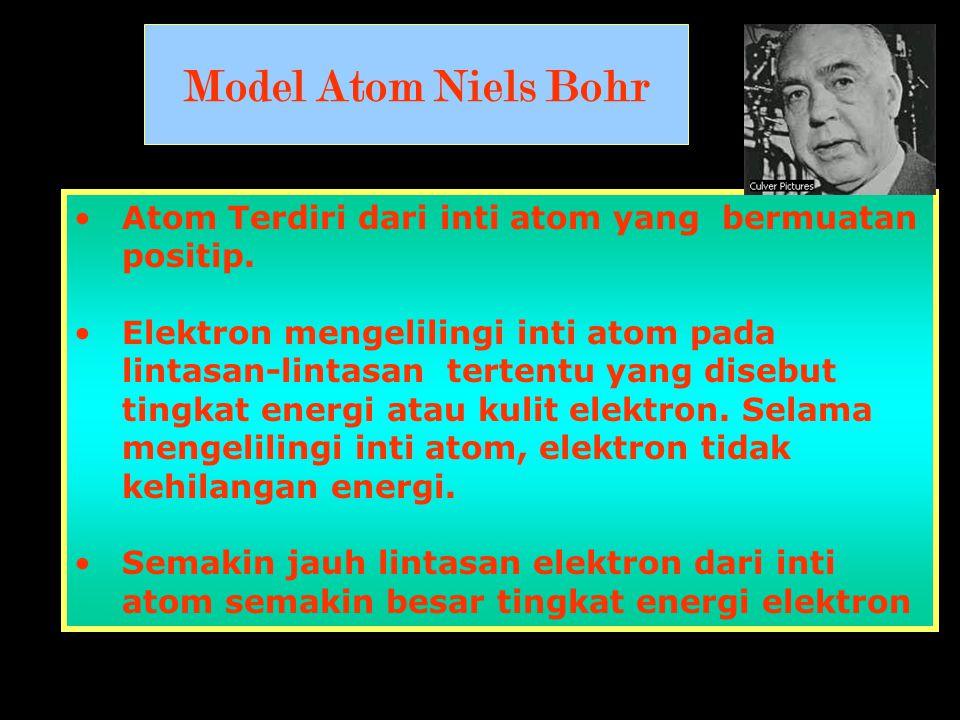 Model Atom Niels Bohr •Atom Terdiri dari inti atom yang bermuatan positip. •Elektron mengelilingi inti atom pada lintasan-lintasan tertentu yang diseb