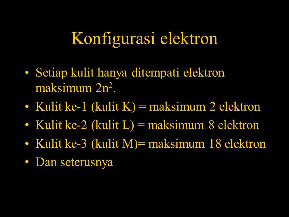 Konfigurasi elektron •Setiap kulit hanya ditempati elektron maksimum 2n 2. •Kulit ke-1 (kulit K) = maksimum 2 elektron •Kulit ke-2 (kulit L) = maksimu