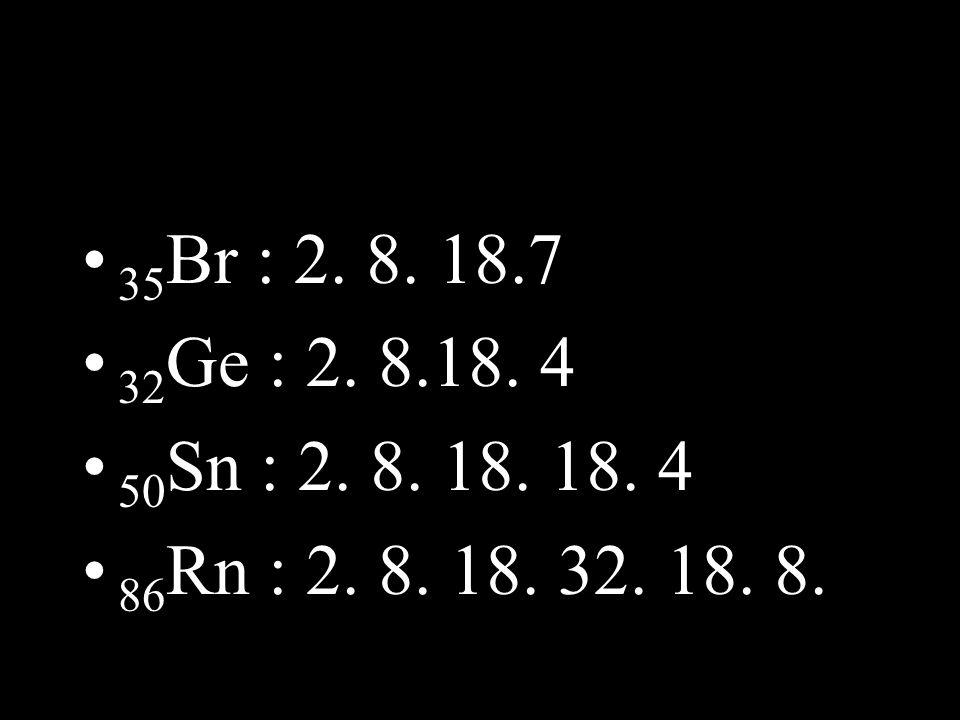 • 35 Br : 2. 8. 18.7 • 32 Ge : 2. 8.18. 4 • 50 Sn : 2. 8. 18. 18. 4 • 86 Rn : 2. 8. 18. 32. 18. 8.