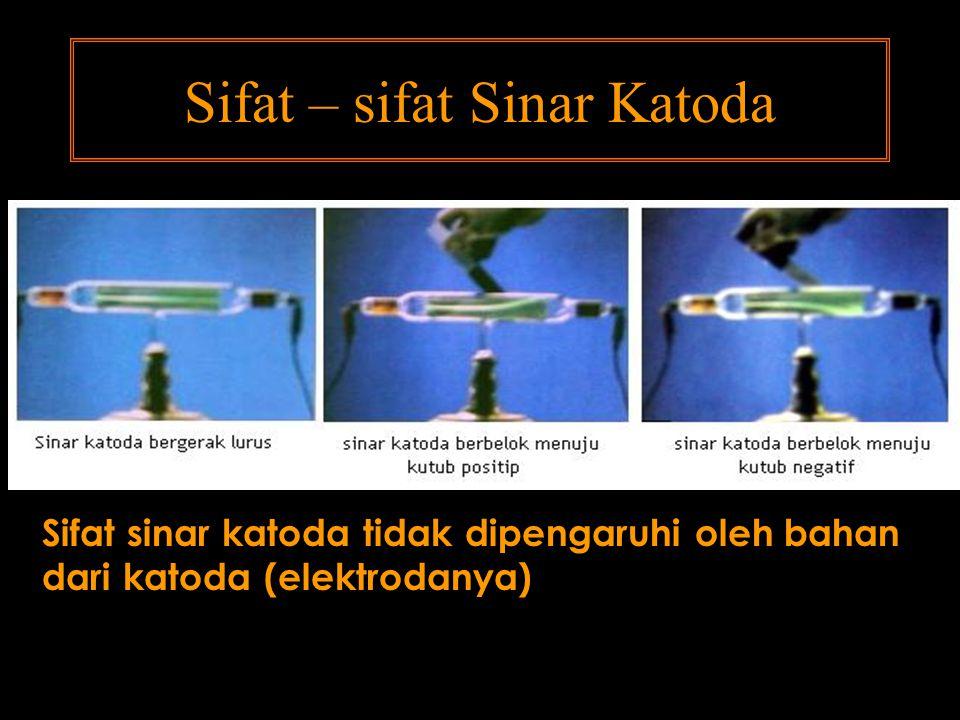 Sifat – sifat Sinar Katoda Sifat sinar katoda tidak dipengaruhi oleh bahan dari katoda (elektrodanya)