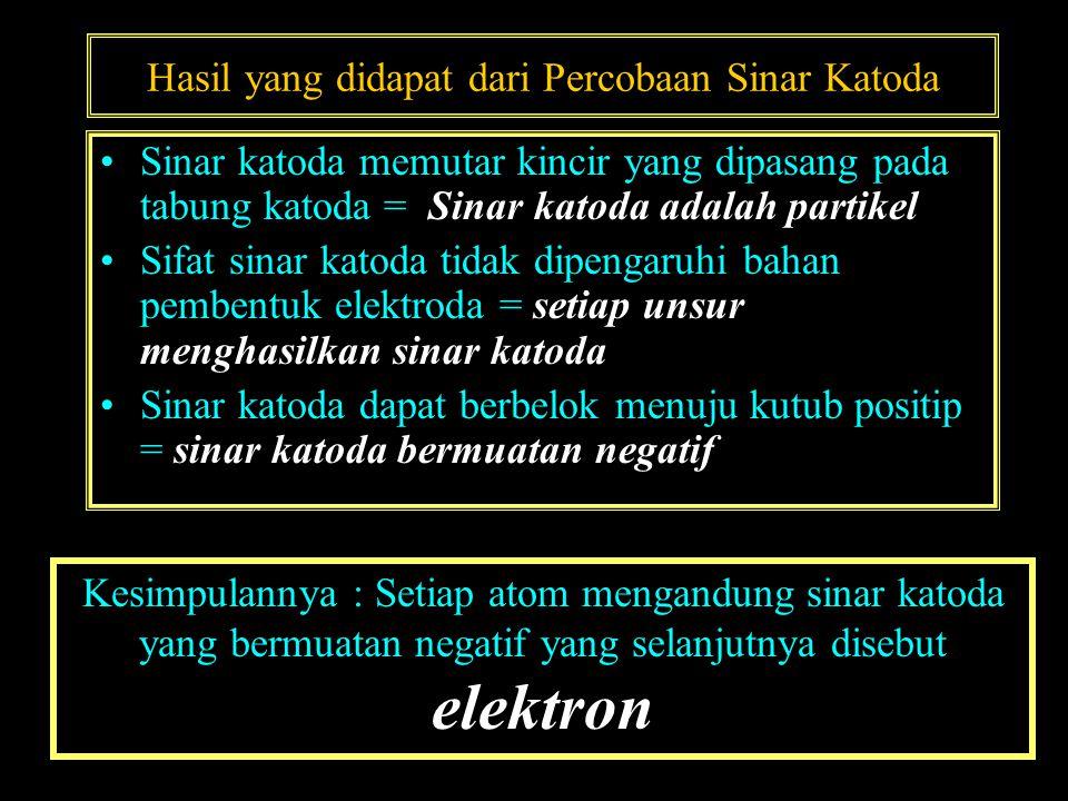Hasil yang didapat dari Percobaan Sinar Katoda •Sinar katoda memutar kincir yang dipasang pada tabung katoda = Sinar katoda adalah partikel •Sifat sinar katoda tidak dipengaruhi bahan pembentuk elektroda = setiap unsur menghasilkan sinar katoda •Sinar katoda dapat berbelok menuju kutub positip = sinar katoda bermuatan negatif Kesimpulannya : Setiap atom mengandung sinar katoda yang bermuatan negatif yang selanjutnya disebut elektron