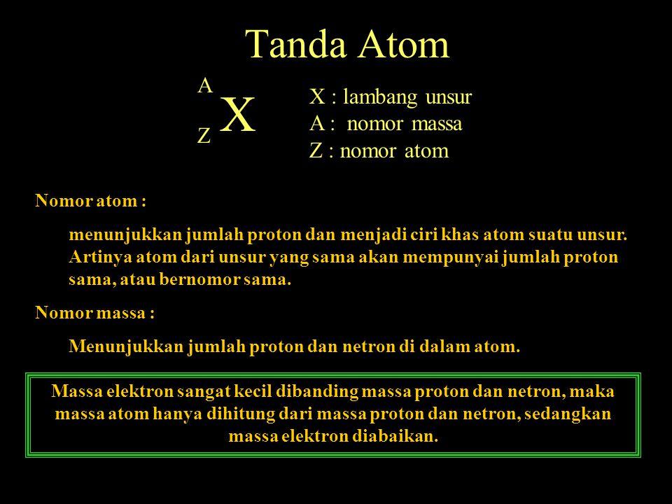Tanda Atom A Z X X : lambang unsur A : nomor massa Z : nomor atom Nomor atom : menunjukkan jumlah proton dan menjadi ciri khas atom suatu unsur. Artin