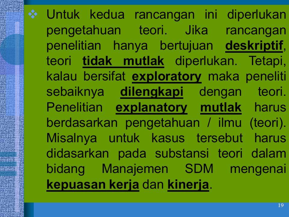 19  Untuk kedua rancangan ini diperlukan pengetahuan teori. Jika rancangan penelitian hanya bertujuan deskriptif, teori tidak mutlak diperlukan. Teta