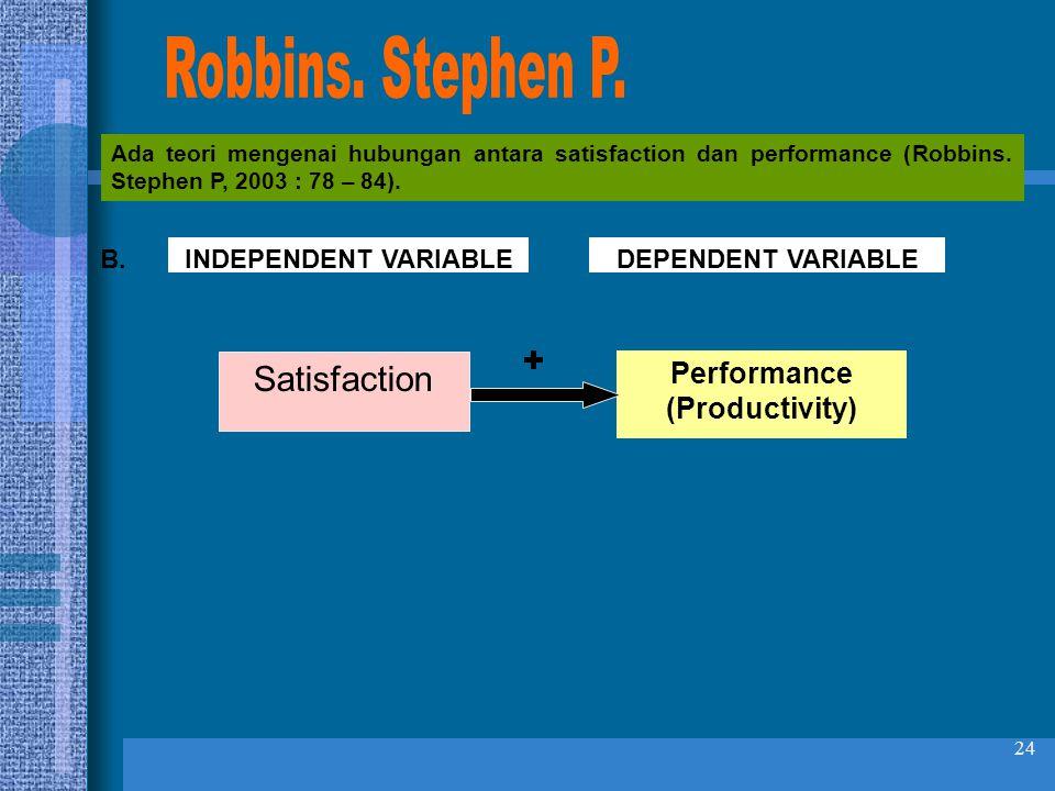24 Ada teori mengenai hubungan antara satisfaction dan performance (Robbins. Stephen P, 2003 : 78 – 84). Performance (Productivity) Satisfaction + IND