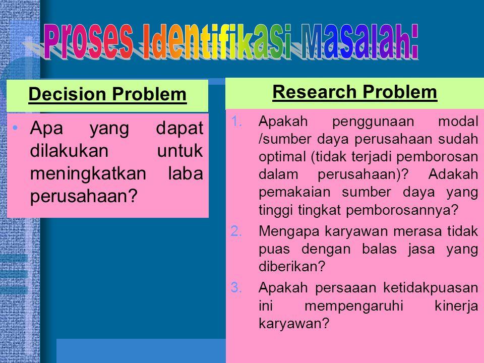 9 Research Problem Decision Problem •Apa yang dapat dilakukan untuk meningkatkan laba perusahaan? 1.Apakah penggunaan modal /sumber daya perusahaan su