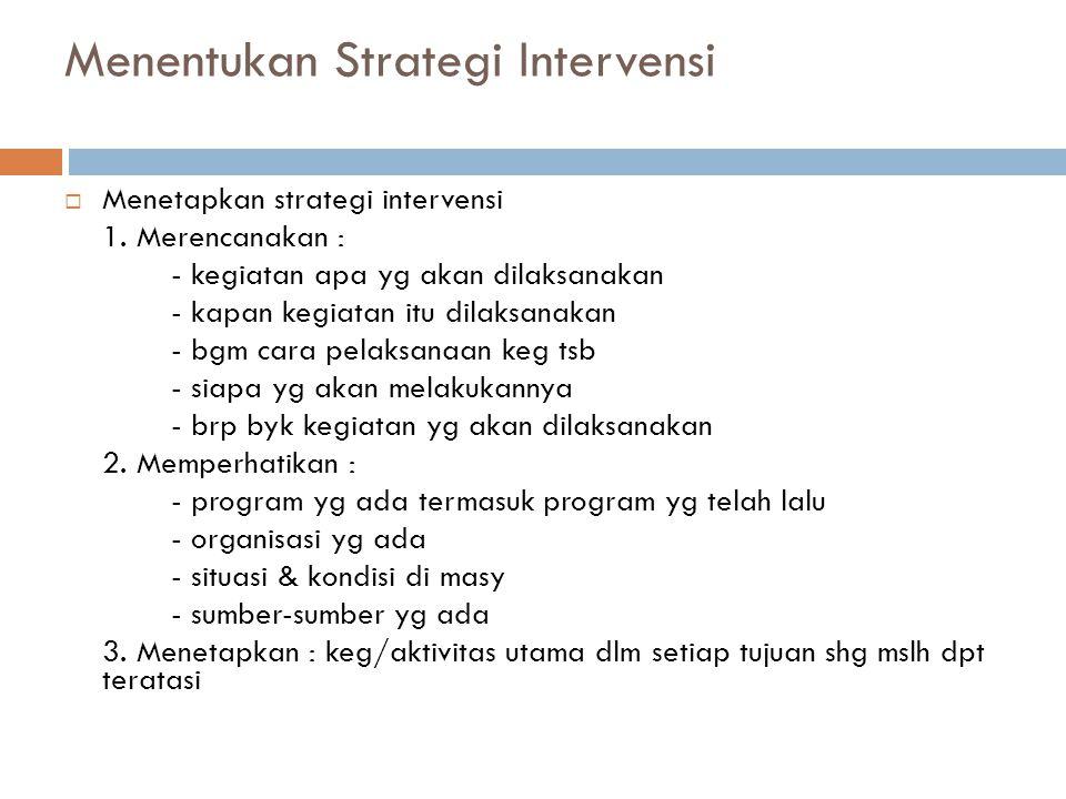 Menentukan Strategi Intervensi  Menetapkan strategi intervensi 1.