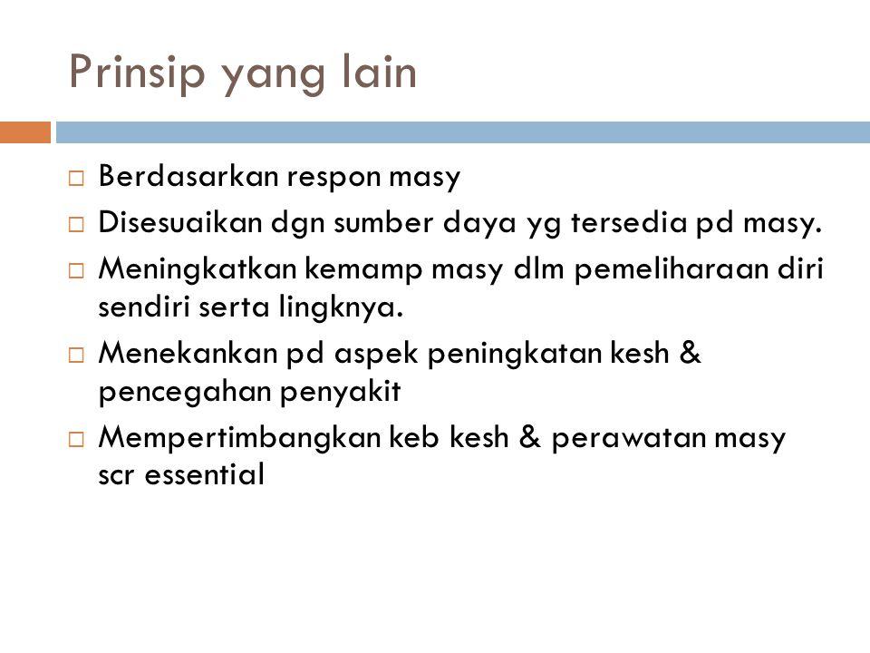 Prinsip yang lain  Berdasarkan respon masy  Disesuaikan dgn sumber daya yg tersedia pd masy.