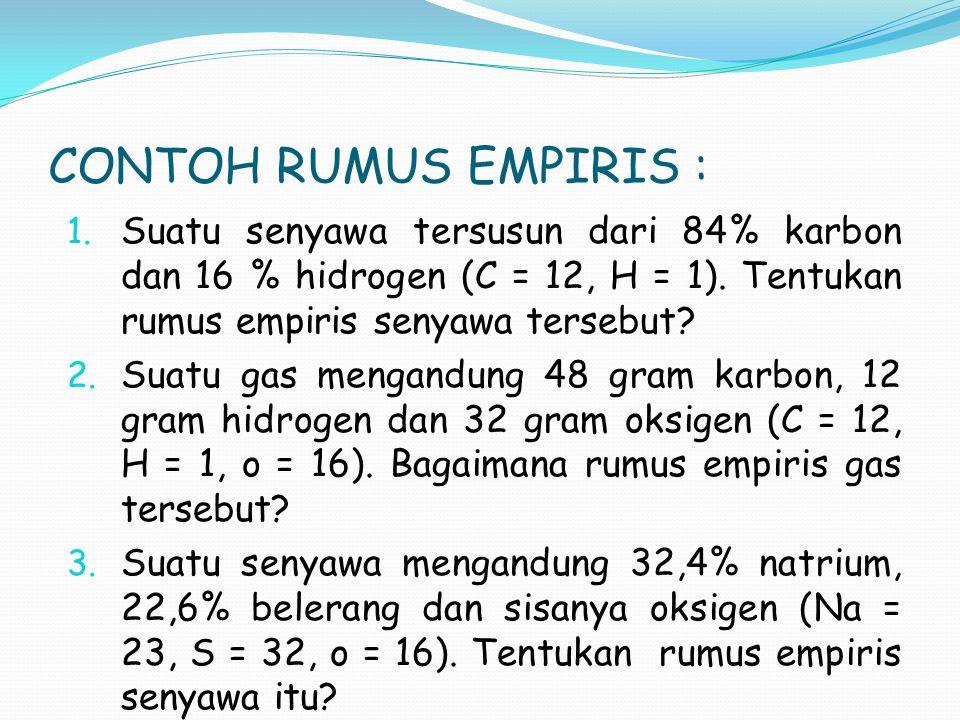 CONTOH RUMUS EMPIRIS : 1. Suatu senyawa tersusun dari 84% karbon dan 16 % hidrogen (C = 12, H = 1). Tentukan rumus empiris senyawa tersebut? 2. Suatu