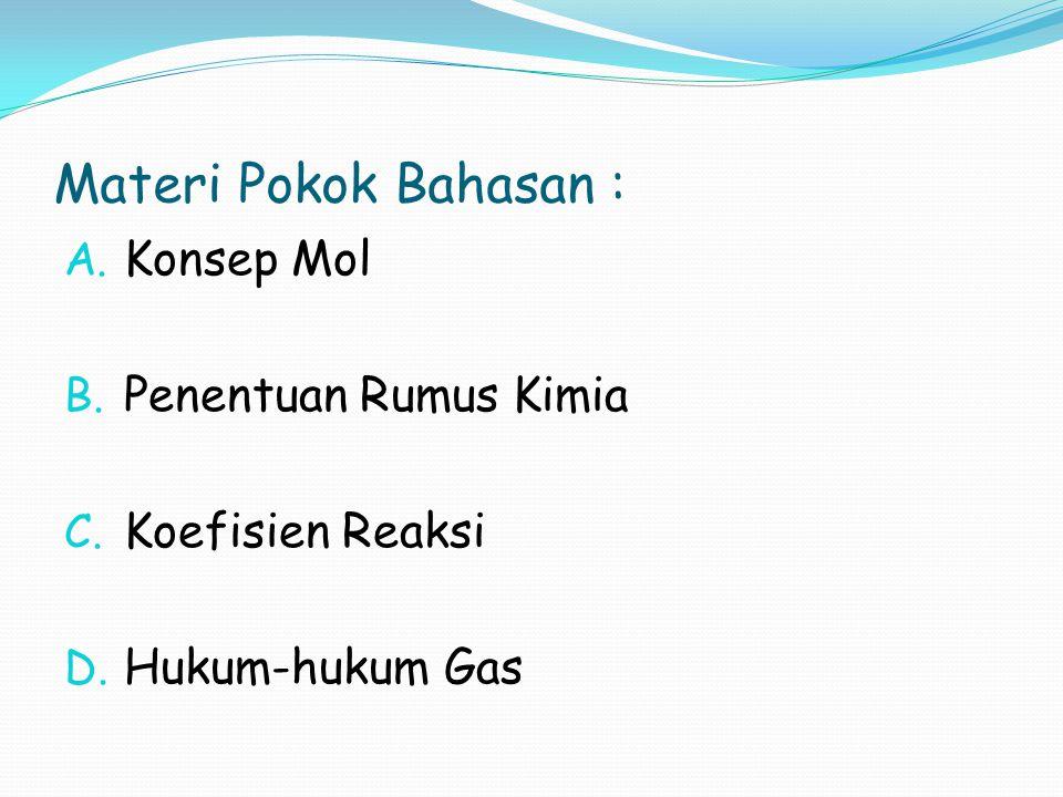 Materi Pokok Bahasan : A. Konsep Mol B. Penentuan Rumus Kimia C. Koefisien Reaksi D. Hukum-hukum Gas