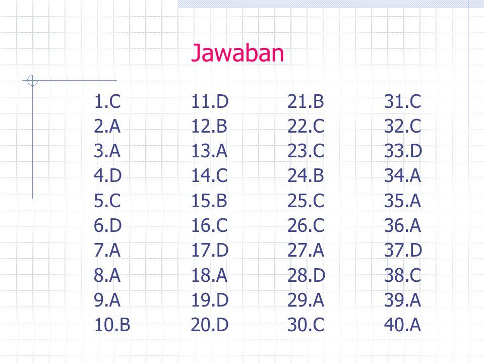 Jawaban 1.C11.D 21.B31.C 2.A12.B22.C32.C 3.A13.A 23.C33.D 4.D14.C 24.B34.A 5.C15.B25.C35.A 6.D16.C26.C36.A 7.A17.D27.A37.D 8.A18.A28.D38.C 9.A19.D29.A