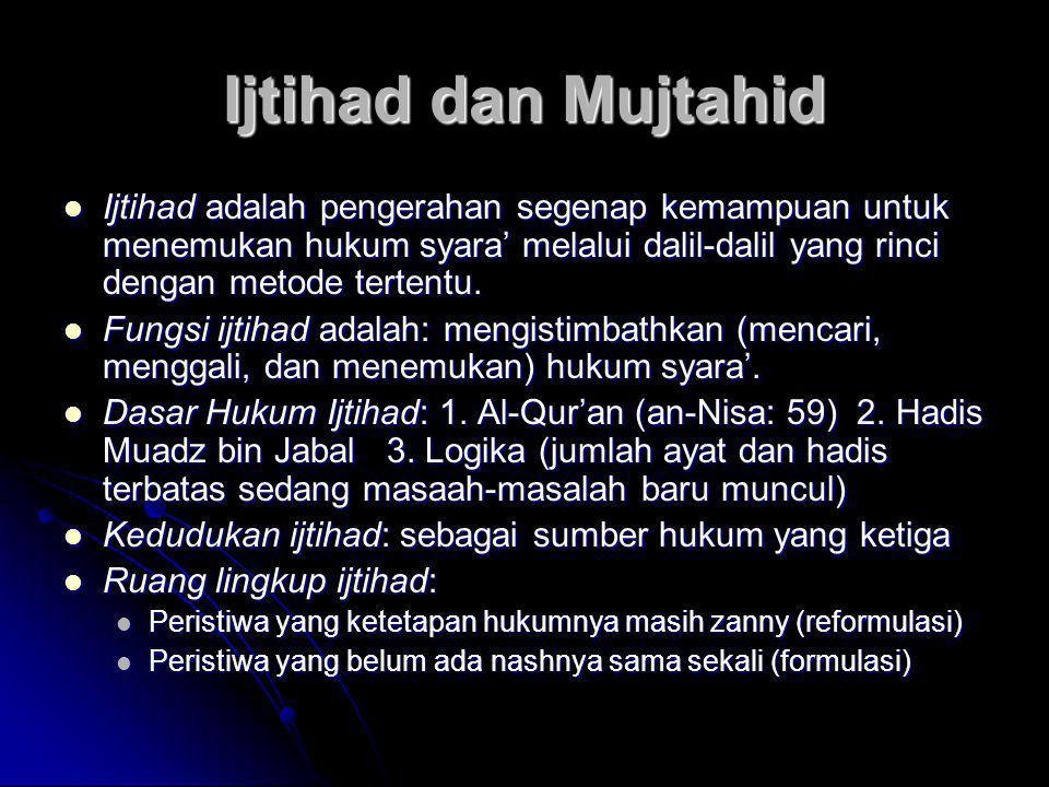Ijtihad dan Mujtahid  Ijtihad adalah pengerahan segenap kemampuan untuk menemukan hukum syara' melalui dalil-dalil yang rinci dengan metode tertentu.