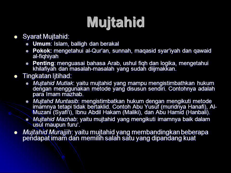 Mujtahid  Syarat Mujtahid:  Umum: Islam, balligh dan berakal  Pokok: mengetahui al-Qur'an, sunnah, maqasid syar'iyah dan qawaid al-fiqhiyah  Penti