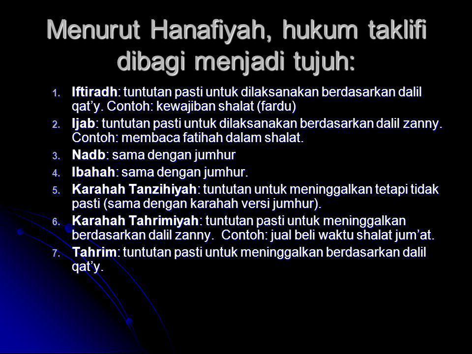 Menurut Hanafiyah, hukum taklifi dibagi menjadi tujuh: 1. Iftiradh: tuntutan pasti untuk dilaksanakan berdasarkan dalil qat'y. Contoh: kewajiban shala