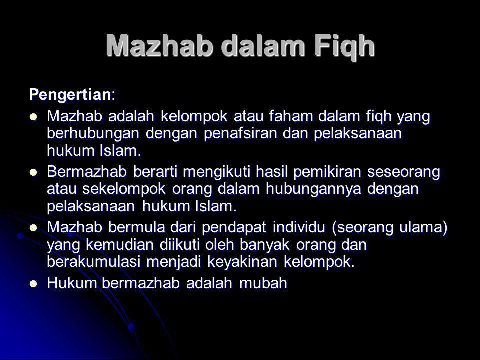 Mazhab dalam Fiqh Pengertian:  Mazhab adalah kelompok atau faham dalam fiqh yang berhubungan dengan penafsiran dan pelaksanaan hukum Islam.  Bermazh